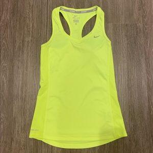 Neon Yellow / Green Nike Racerback V Neck Tank Top